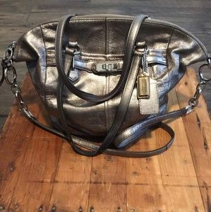 Silver Leather Coach Purse